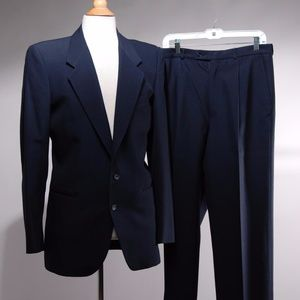 Yves Saint Laurent Navy Blue Wool Two-Button Blaze